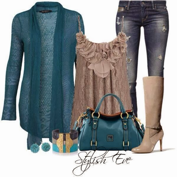 Dark blue cardigan, brown blouse, jeans, handbag and long boots for fall