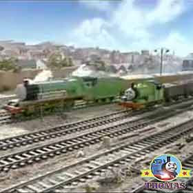 Thomas and friends Percy the tank engine was left alone hurry hurry he would call to Henry and James