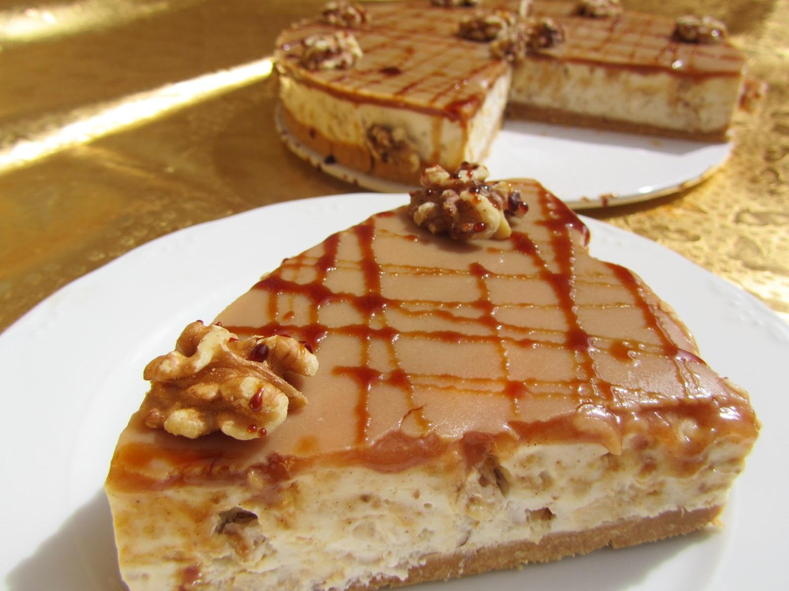 Tarta de queso miel y nueces - Postres con queso de untar ...