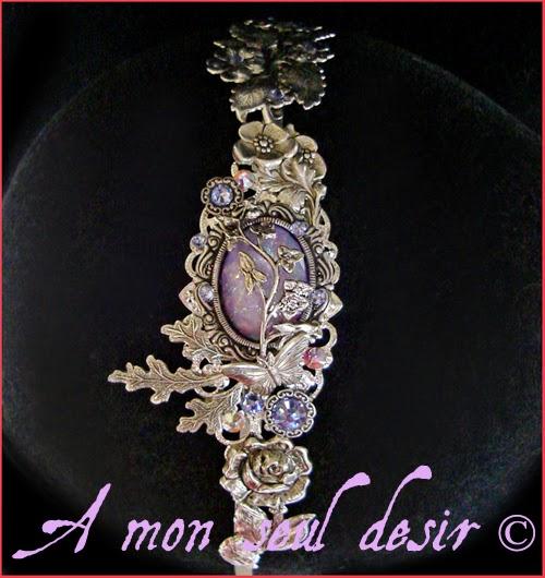 Serre-tête argent fleurs mariage violet lilas lavande papillon headband flower lavender lilac wedding headdress butterfly Floral Poetry