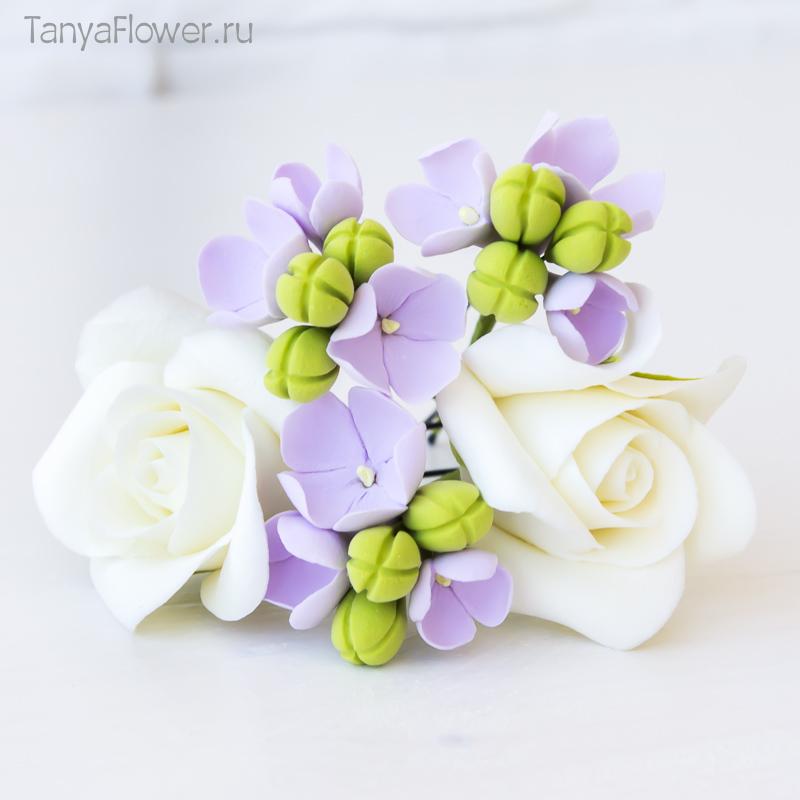 шпильки с цветами для невесты