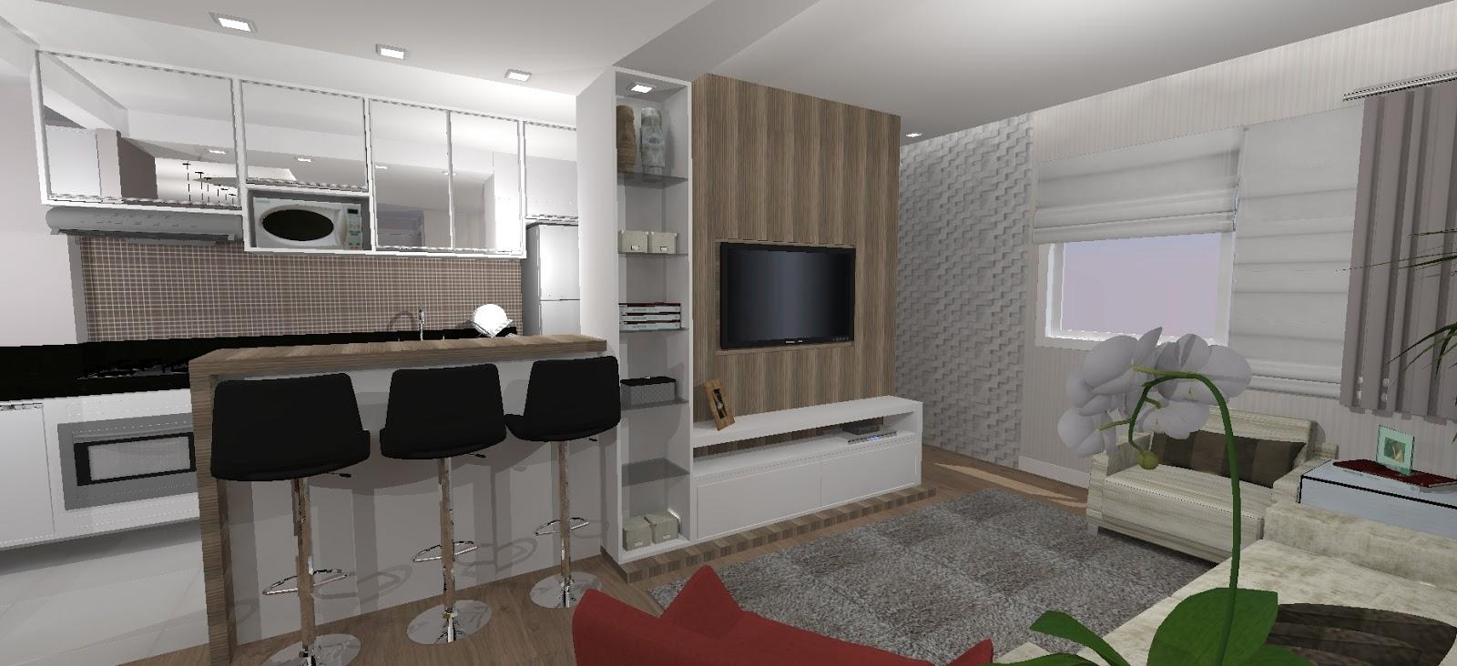 Sala De Jantar Com Sala De Tv ~  Arquitetas Associadas Sala de TV, Sala de Jantar e cozinha integrada