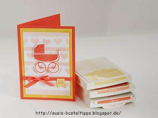 Babykarte mit selbstgemachtem Stencil-Hintergrund