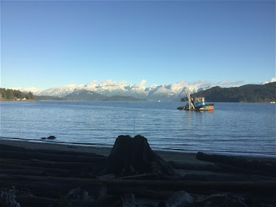 Snowy mountains across from Gibsons, BC, Sunshine Coast