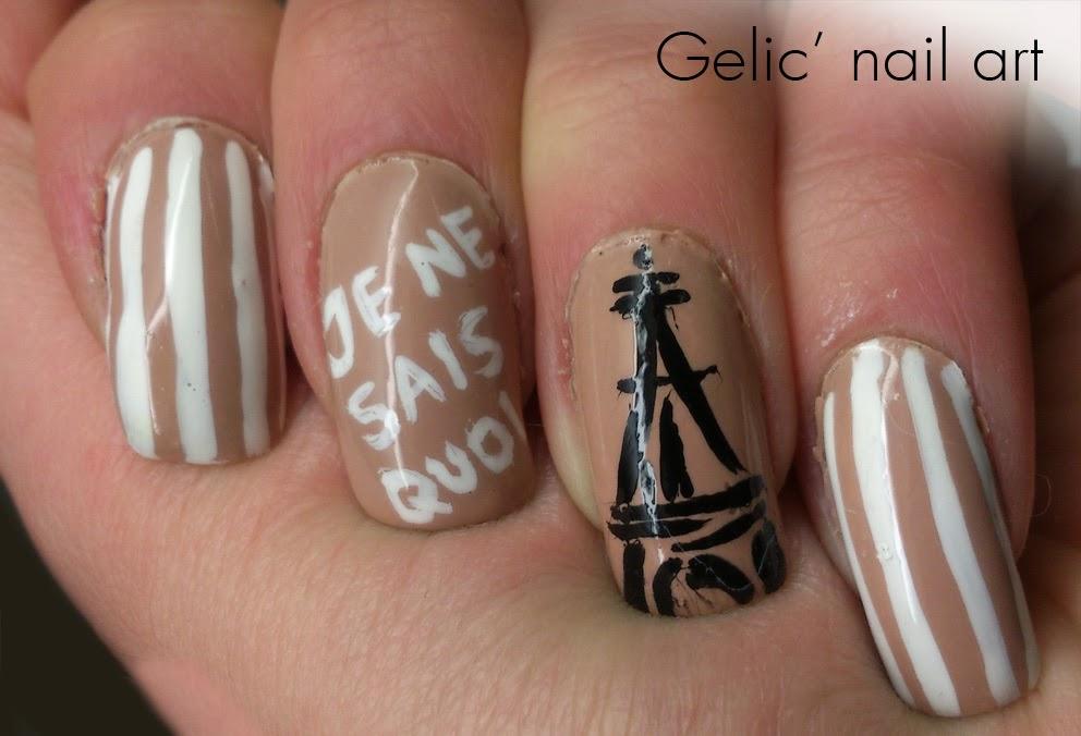 Gelic\' nail art: Paris Eiffel Tower nail art for France