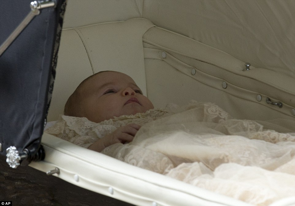 Princess Charlotte, who was born in May, has been seen out in public since leaving the Lindo Wing after she was born