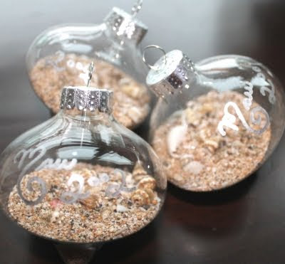 sand filled clear ornaments