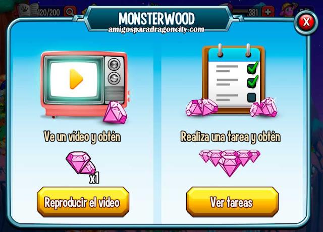 imagen de las tareas y videos ilimitados del monsterwood de monster legends