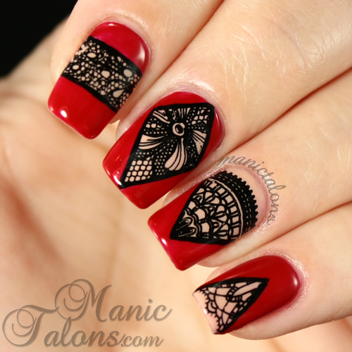 Lace Manicure, Messy Mansion MM44, Couture Gel Polish