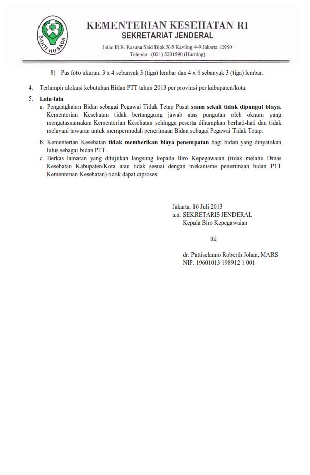 PENGUMUMAN PENERIMAAN BIDAN PTT PUSAT PERIODE OKTOBER 2013 indonersiacenter.blogspot.com