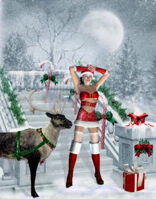 Chica navideña vestida como santa claus con venado y regalos
