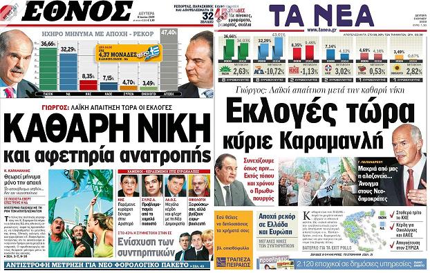 """Όταν το 2009, """"Έθνος"""" και """"Νέα"""", με 4,3% διαφορά ζητούσαν εκλογές... Για τον ΓΑΠ βέβαια! (Φώτο)"""