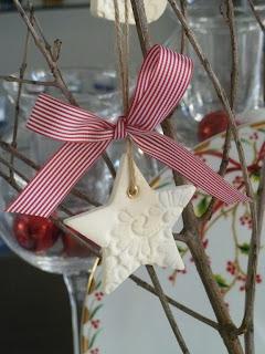 Χριστουγεννιάτικο στολίδι αστεράκι από πηλό