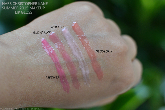 NARS Christopher Kane Makeup Collection Summer 2015 Swatches Lipgloss Mezmer Glow Pink Nucleus Nebulous