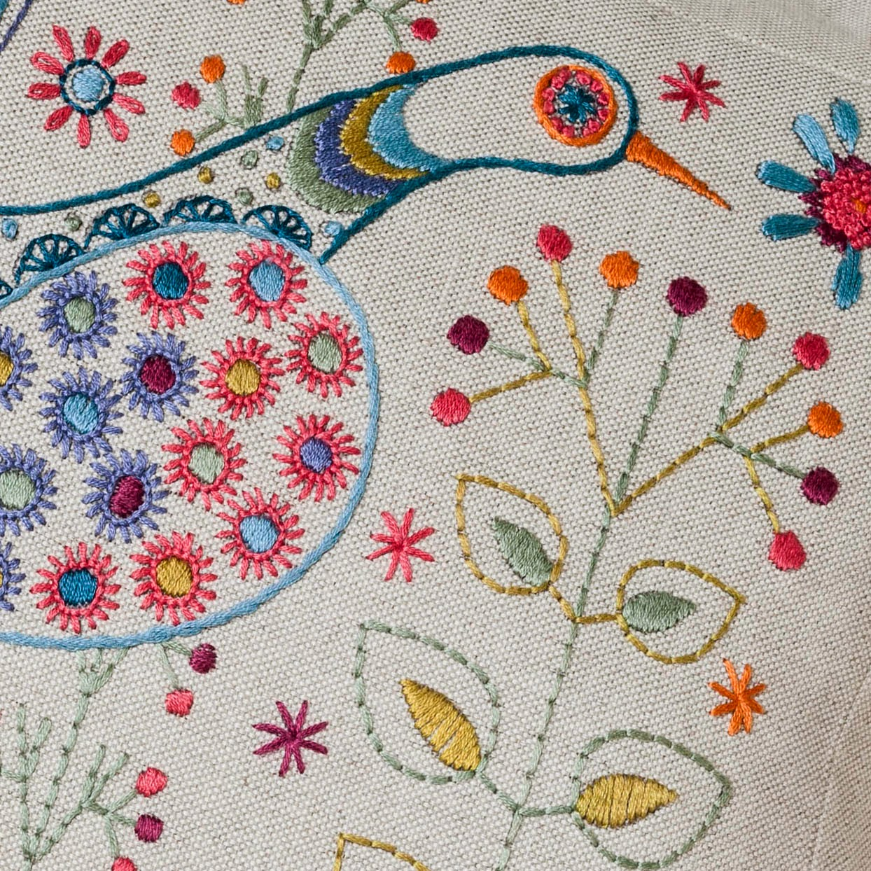 Long Tail Bird Cushion kit by Nancy Nicholson Detail