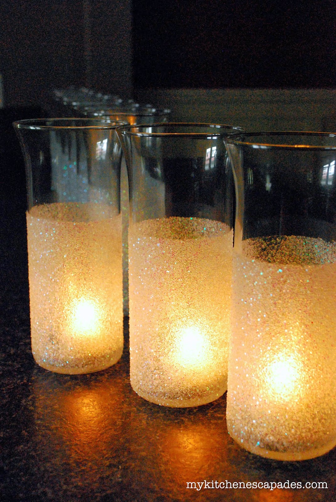 Glitter vases for wedding or christmas decorations diy