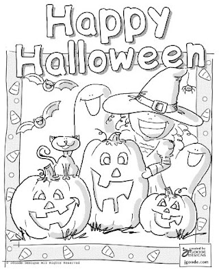 Halloween Coloring Pages  on Transmissionpress  Happy Halloween Coloring Page Picture