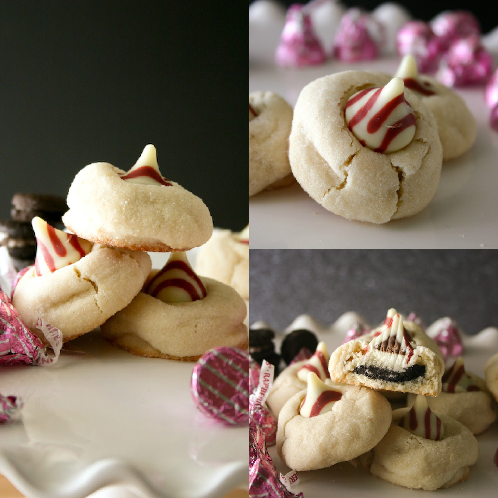 Bakergirl: Oreo-Stuffed White Chocolate Raspberry Kiss Cookies.