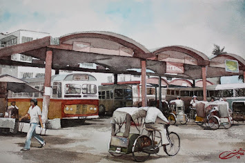 Watercolour: KT Bus Station 60's