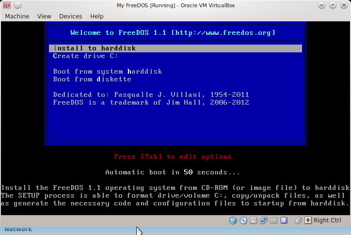 How To Install FreeDOS in Virtualbox on Ubuntu Linux