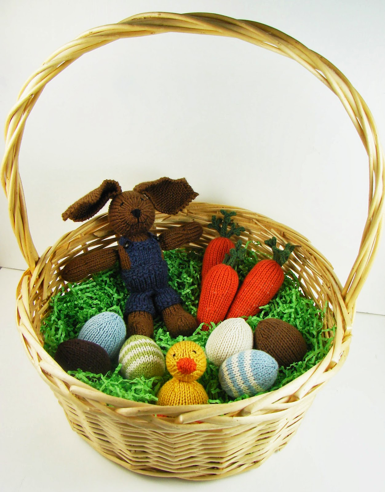 hand knit easter basket boy farmer bunny rabbit carrots eggs duck