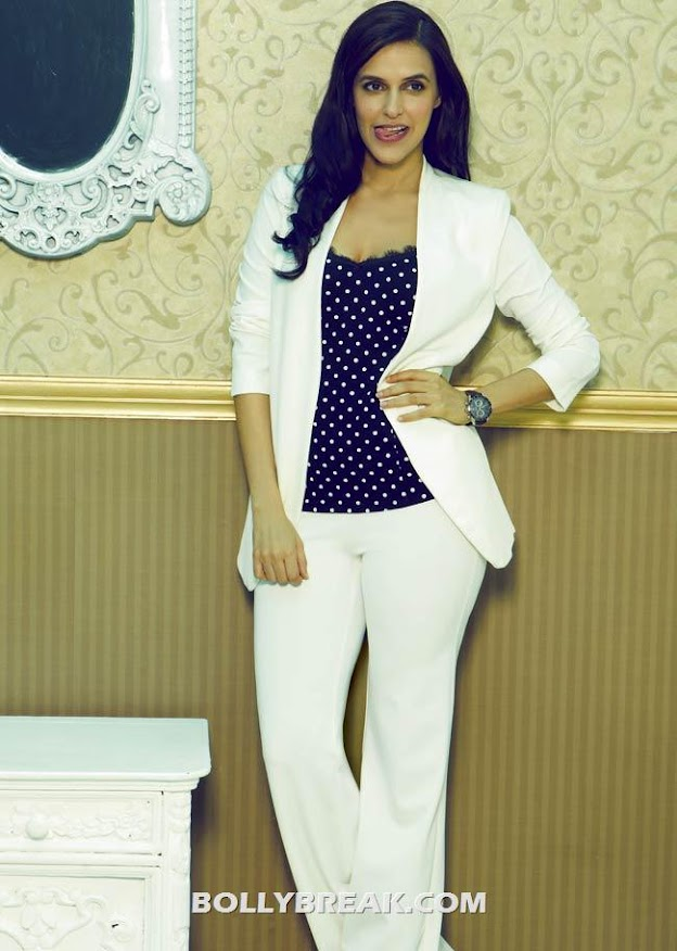 neha dhupia in formal white dress, polka dotted top - Neha Dhupia Cosmopolitan Mag scans - May 2012