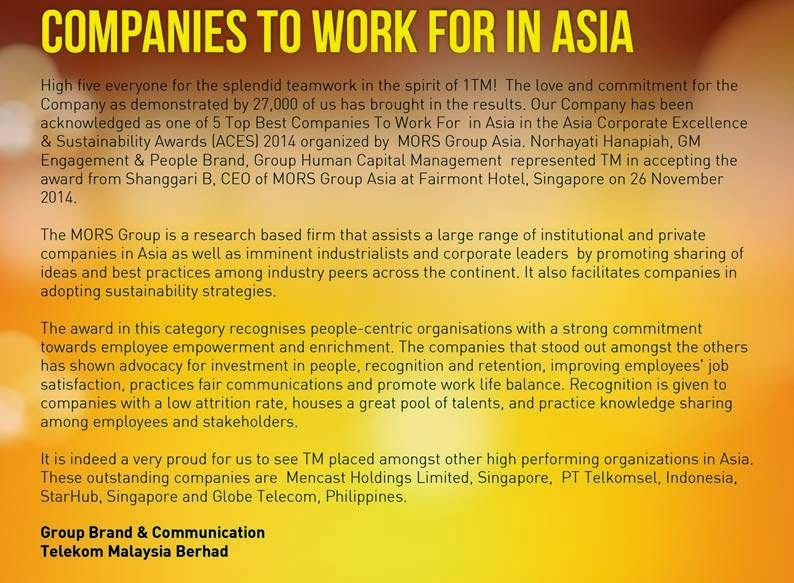 TM is one of 5 Top Best Companies to Work For in Asia