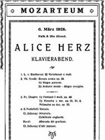 Alice Herz-Sommer, concert programme for Mozarteum 1926