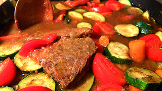 Closeup of Swiss Steak with Tomatoes, Zucchini, and Carrots