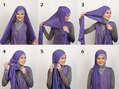 foto cara memakai jilbab modern