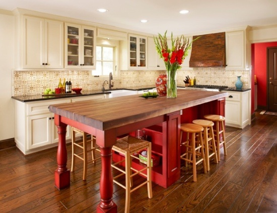 heir and space colorful kitchen islands