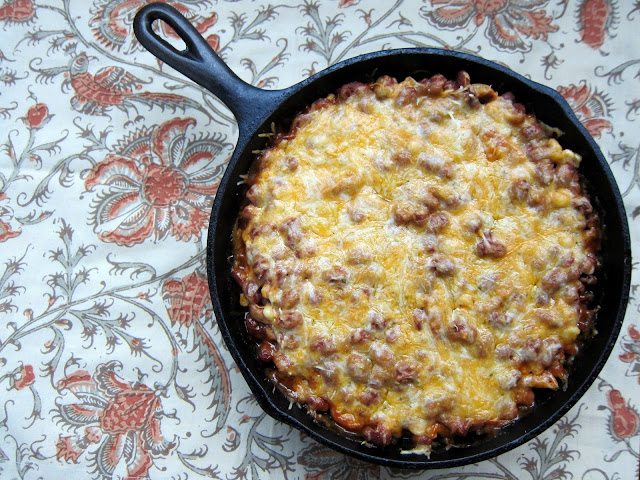 Quick Tamale Pie - premade polenta, chicken, beans, corn, salsa and cheese. Bakes in an iron skillet for 30 minutes. Quick Mexican Casserole Recipe