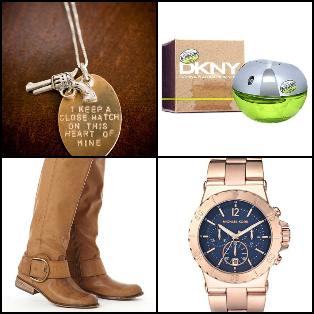 Girly Things: Necklace//perfume//boots//watch. Book Worm Things: