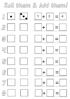free probability worksheets dice