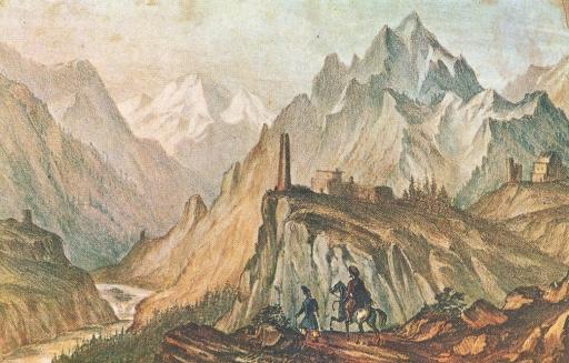 Вид Крестовой горы из ущелья близ Коби. Автолитография, раскрашенная акварелью. 1837—38 г.