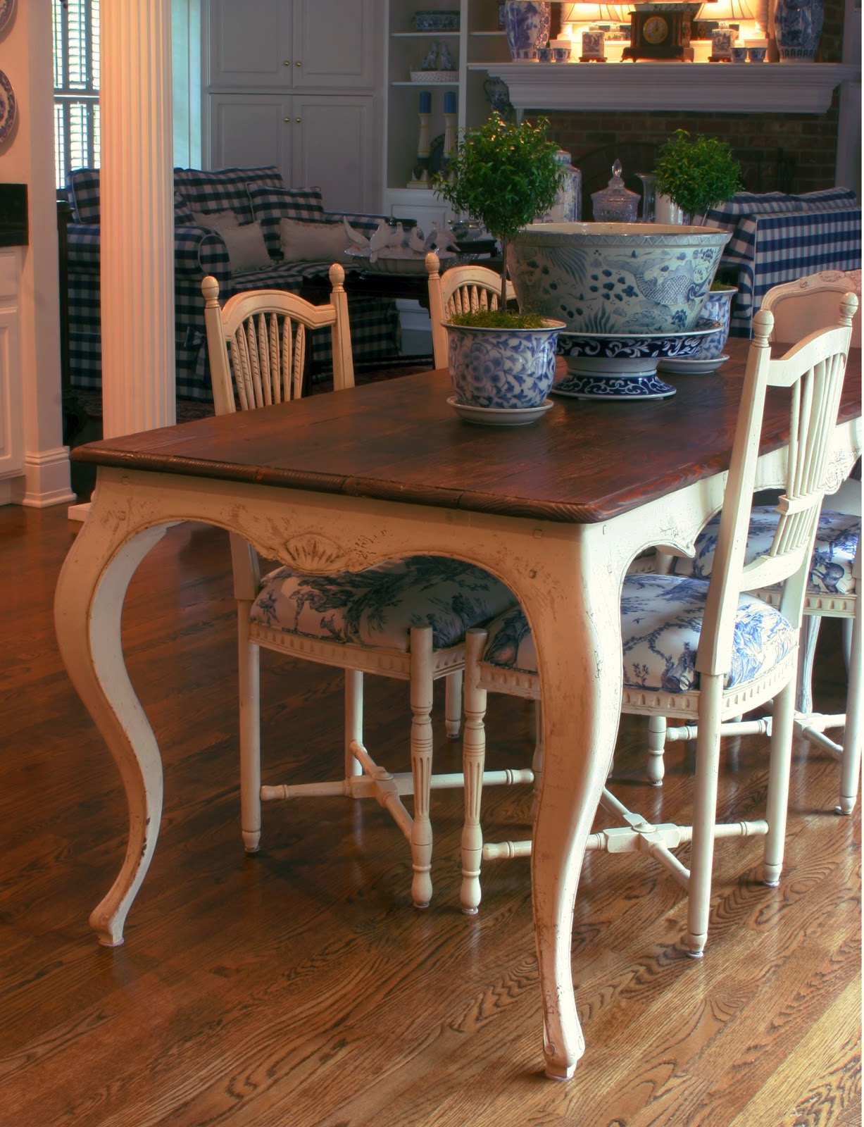 french country dining table with cabriole legs, white painted antique finish and natural walnut colored top