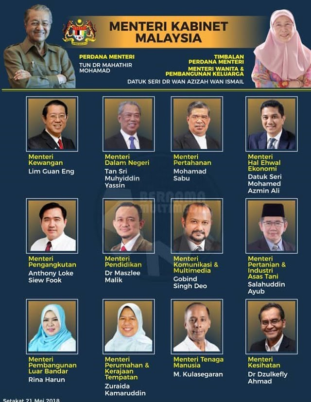 13 MALAYSIAN CABINET MINISTERS 'VE SWORN-IN ON MAY21, 2018.