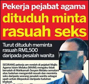 Majlis Agama Islam Melaka, rasuah, kes khalwat, khidmat seks,