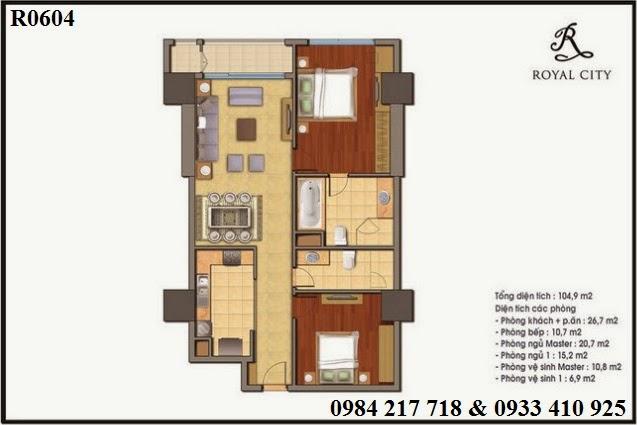 Sàn Vinhomes mở bán căn hộ R40604 Royal City diện tích 104.9 m2 giá tốt 4 tỷ 562 triệu với những ưu đãi lớn trong tháng Ngâu