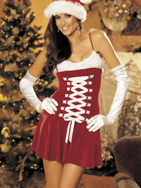 Christmas Stretch Velvet and Faux Fur Chemise