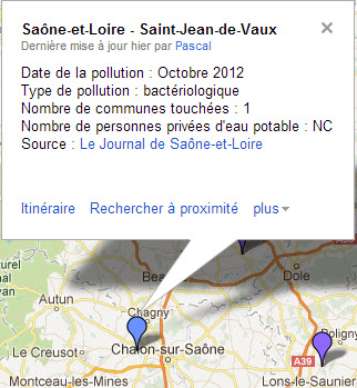 Carte de la pollution de l'eau potable dans la Saône-et-Loire