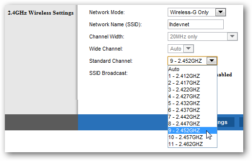 Change wifi channel