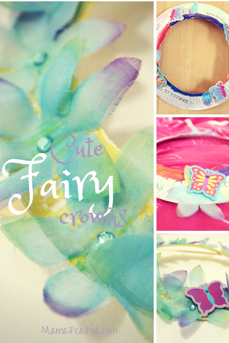 cute fairy crowns craft made from paper plates and flowers