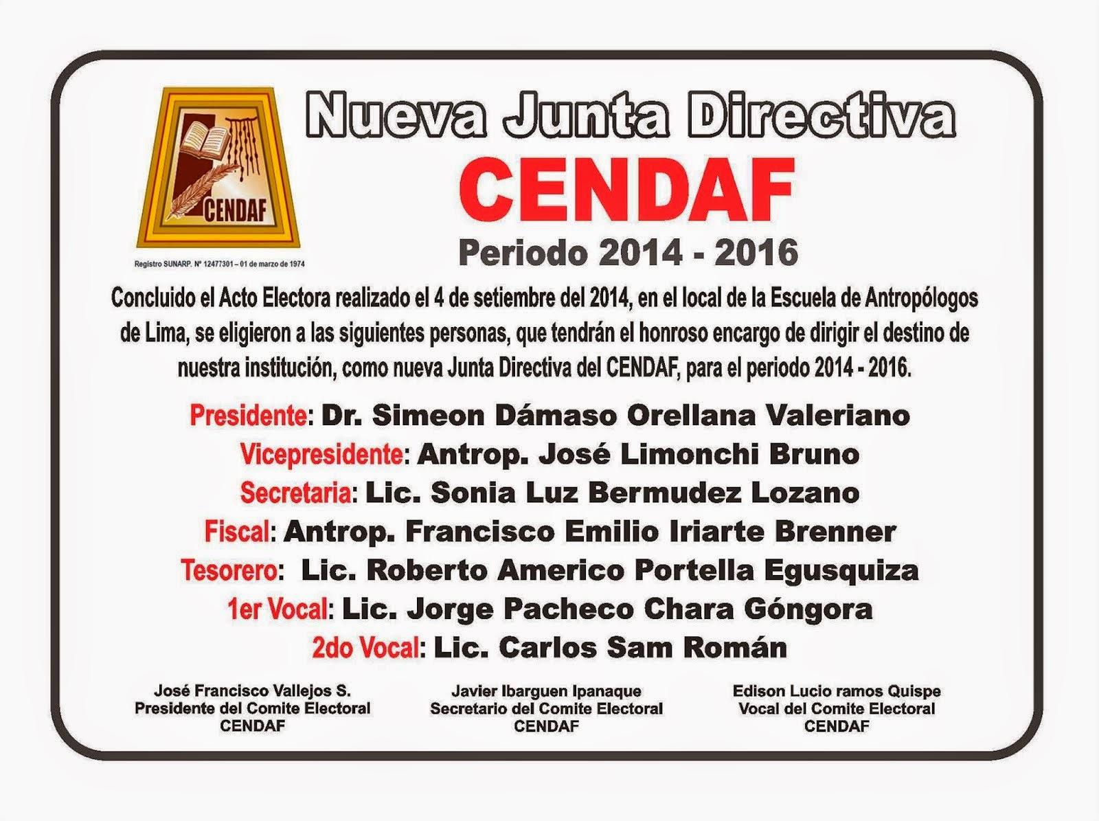 CENDAF: CONSEJO DIRECTIVO 2014-2016