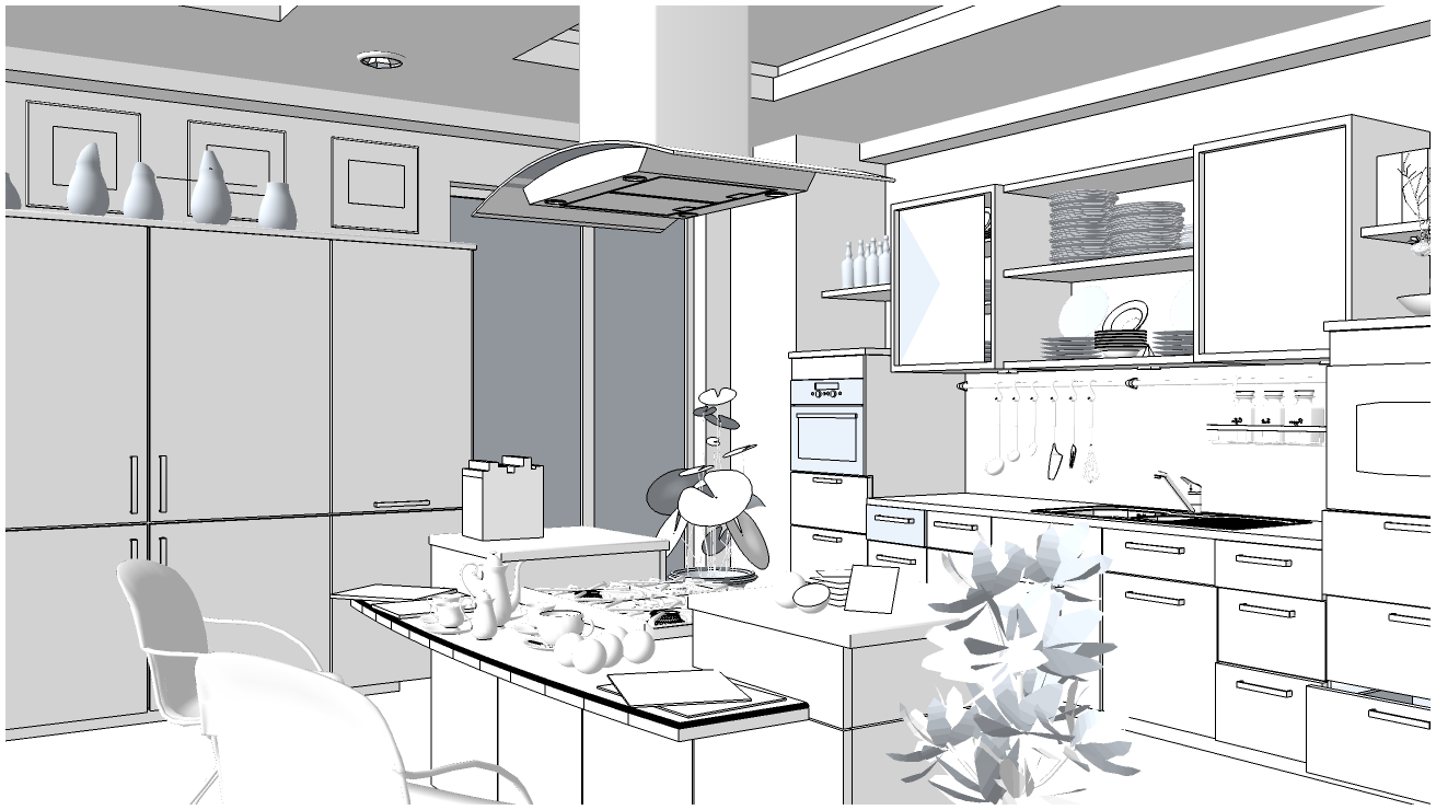 SKETCHUP TEXTURE FREE 3D SCENE KITCHEN AREA