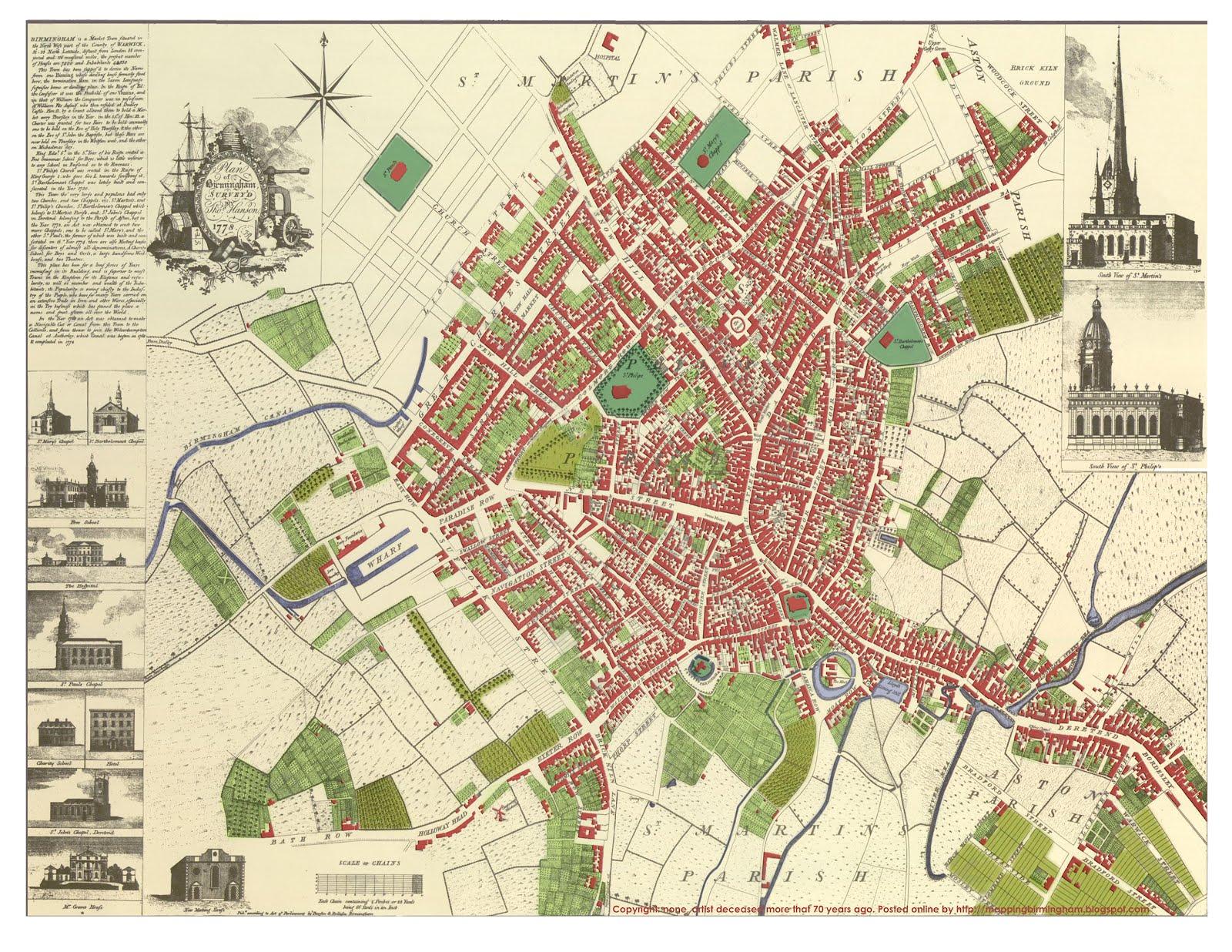 Eighteenth Century Birmingham 1778 Map of Birmingham