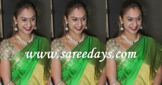 Latest saree designs preetha in green uppada pattu saree altavistaventures Image collections