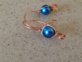Copper Earwires with Dyed Blue Pearl