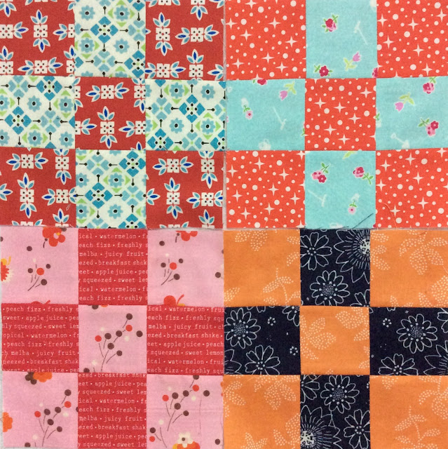 photo of four scrappy nine patch blocks
