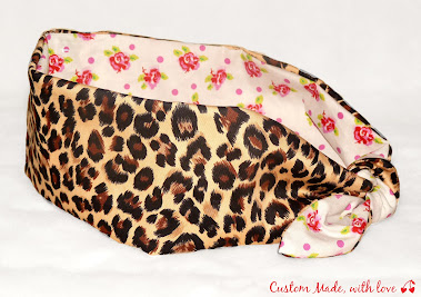 leopard and roses reversible bandana